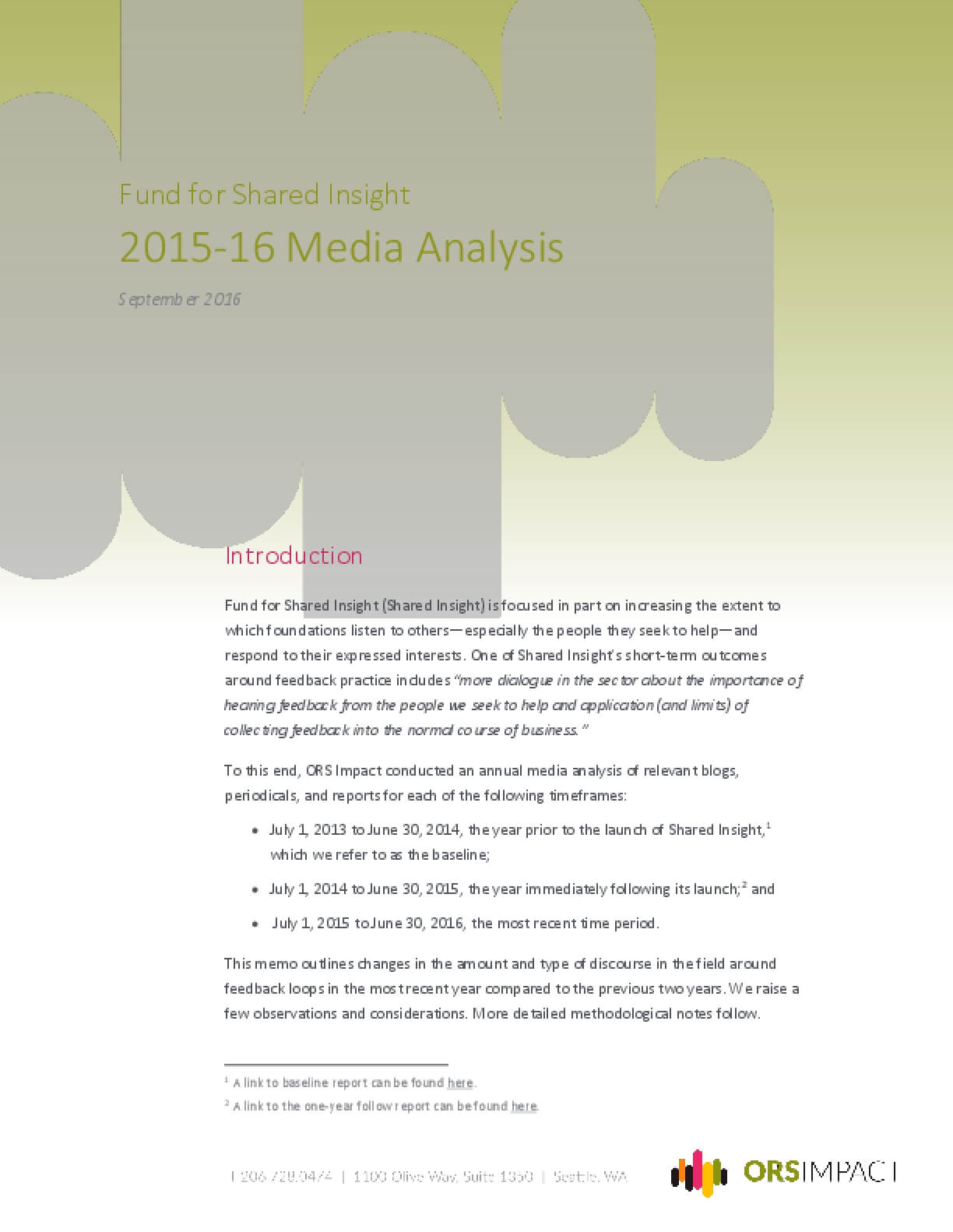 Fund for Shared Insight: 2015-2016 Media Analysis