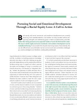 Pursuing Social and Emotional Development Through a Racial Equity Lens: A Call to Action