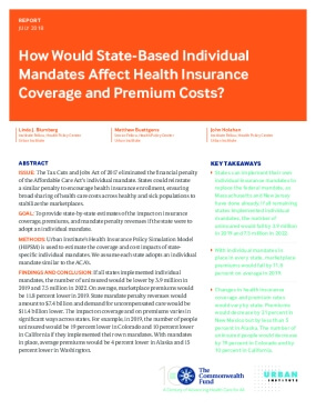 How Would State-Based Individual Mandates Affect Health Insurance Coverage and Premium Costs?