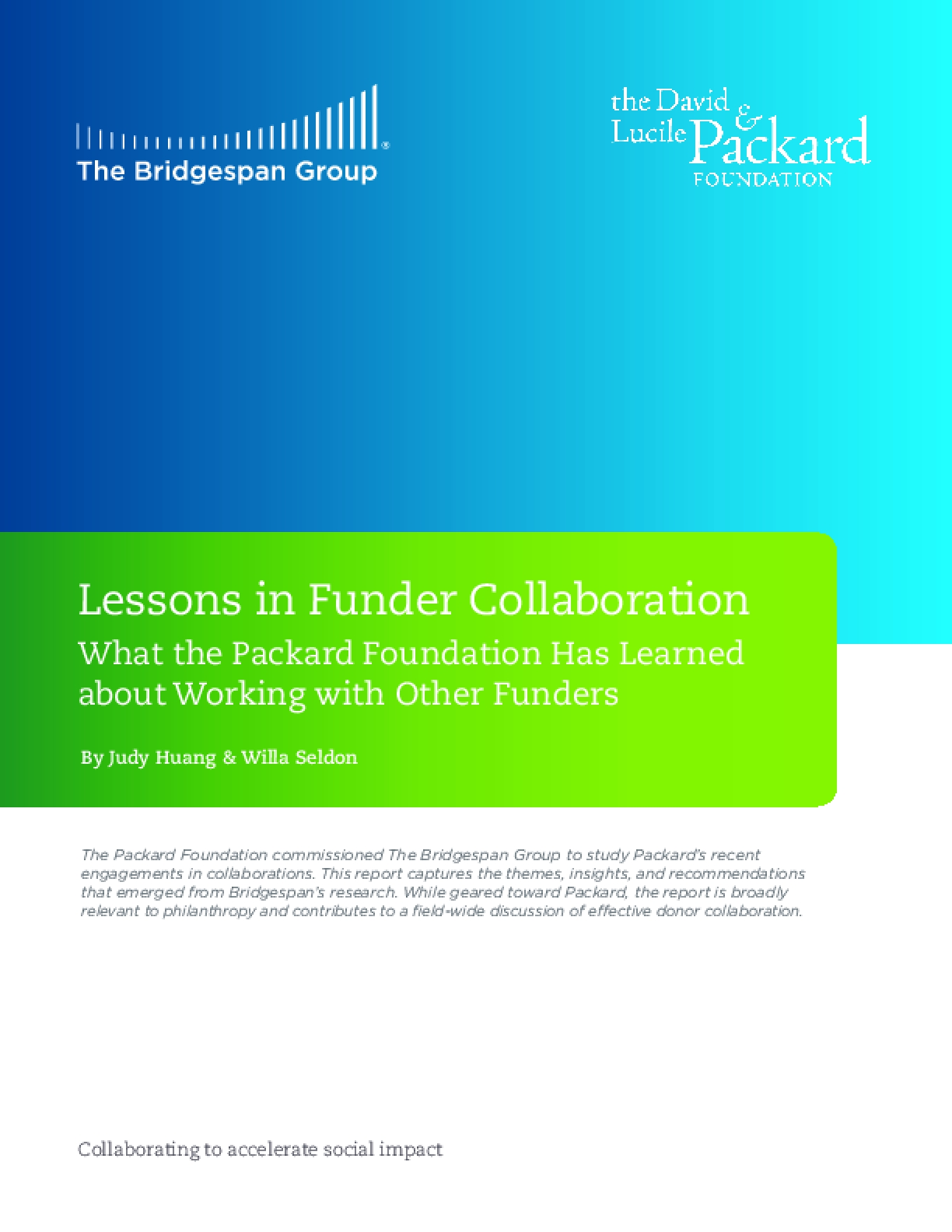 Lessons in Funder Collaboration
