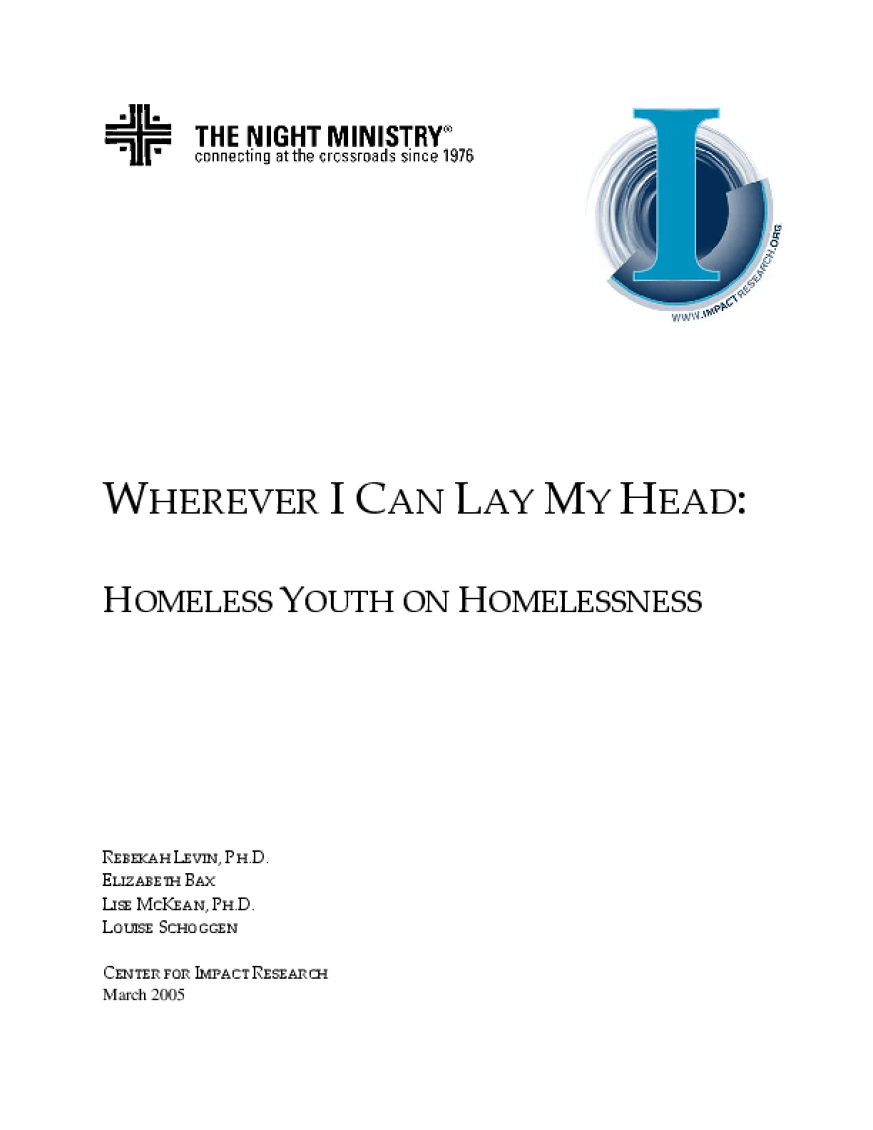 Wherever I Can Lay My Head: Homeless Youth on Homelessness