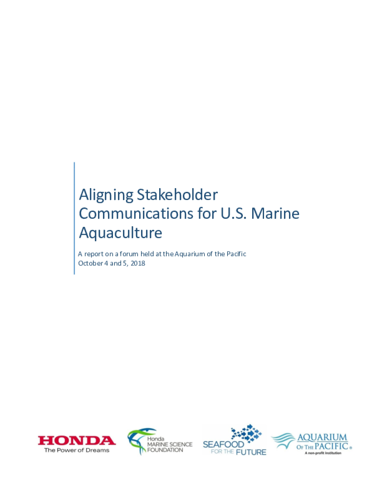 Aligning Stakeholder Communications for U.S. Marine  Aquaculture