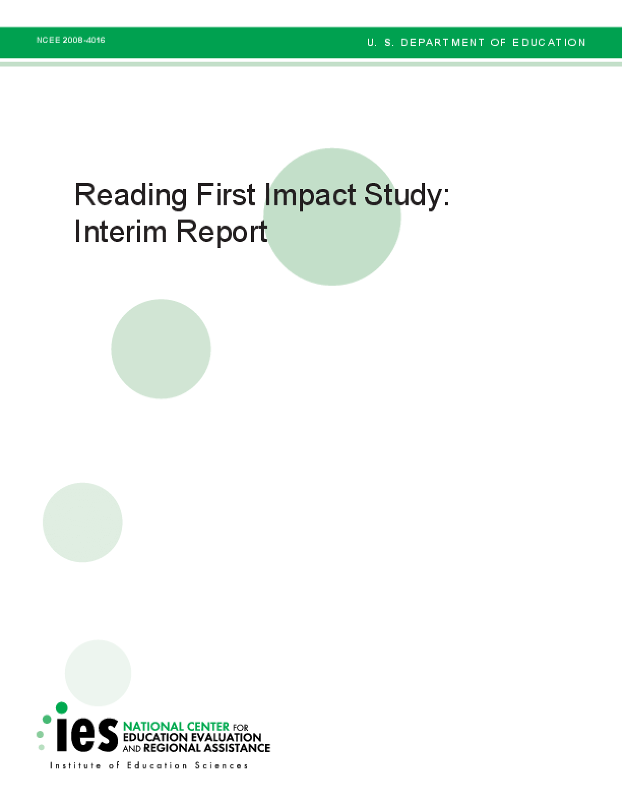 Reading First Impact Study: Interim Report