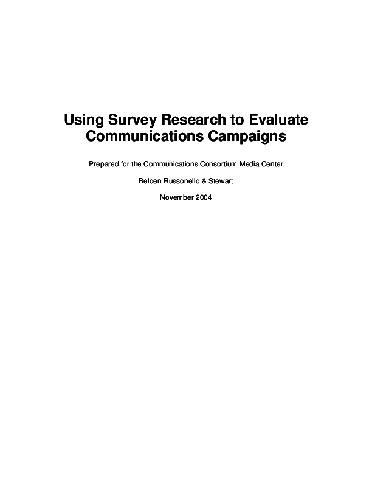 Using Survey Research to Evaluate Communications Campaigns