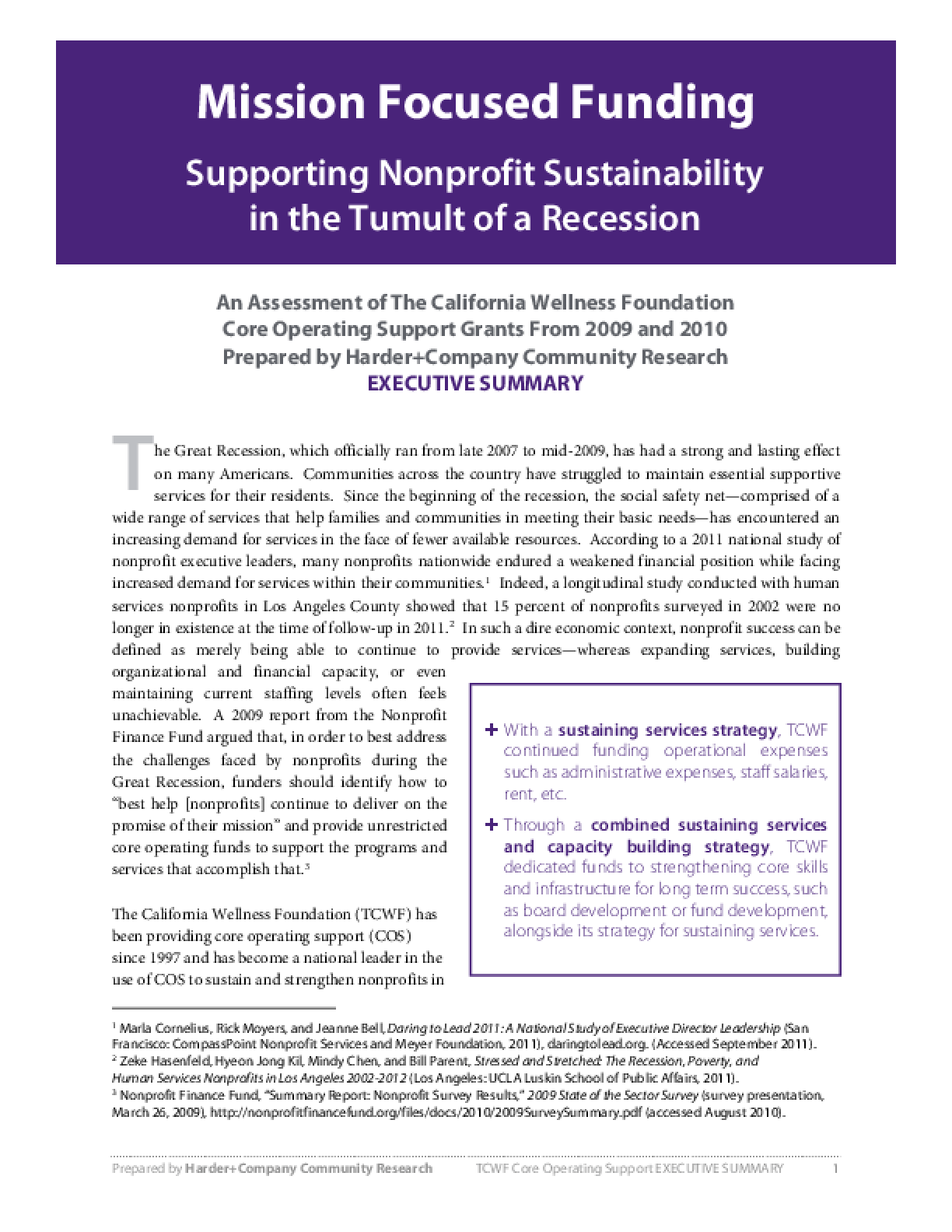 Mission Focused Funding Supporting Nonprofit Sustainability in the Tumult of a Recession