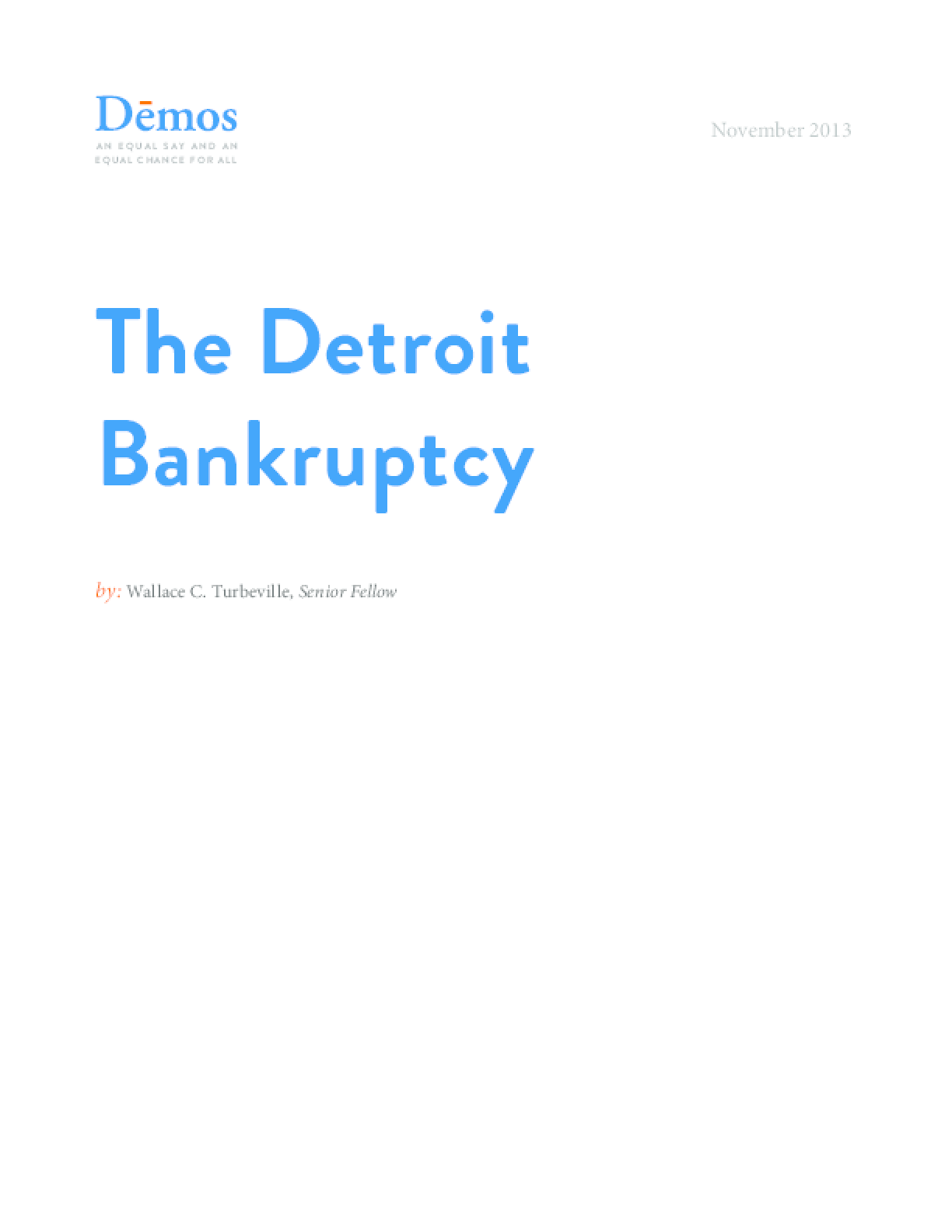 The Detroit Bankruptcy
