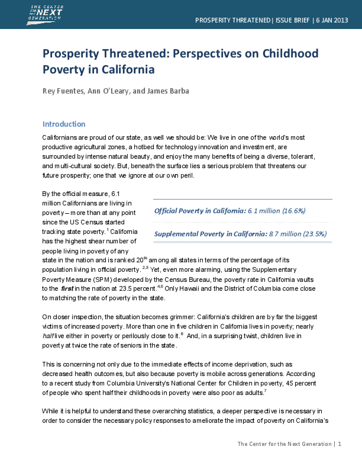 Prosperity Threatened: Perspectives on Childhood Poverty in California