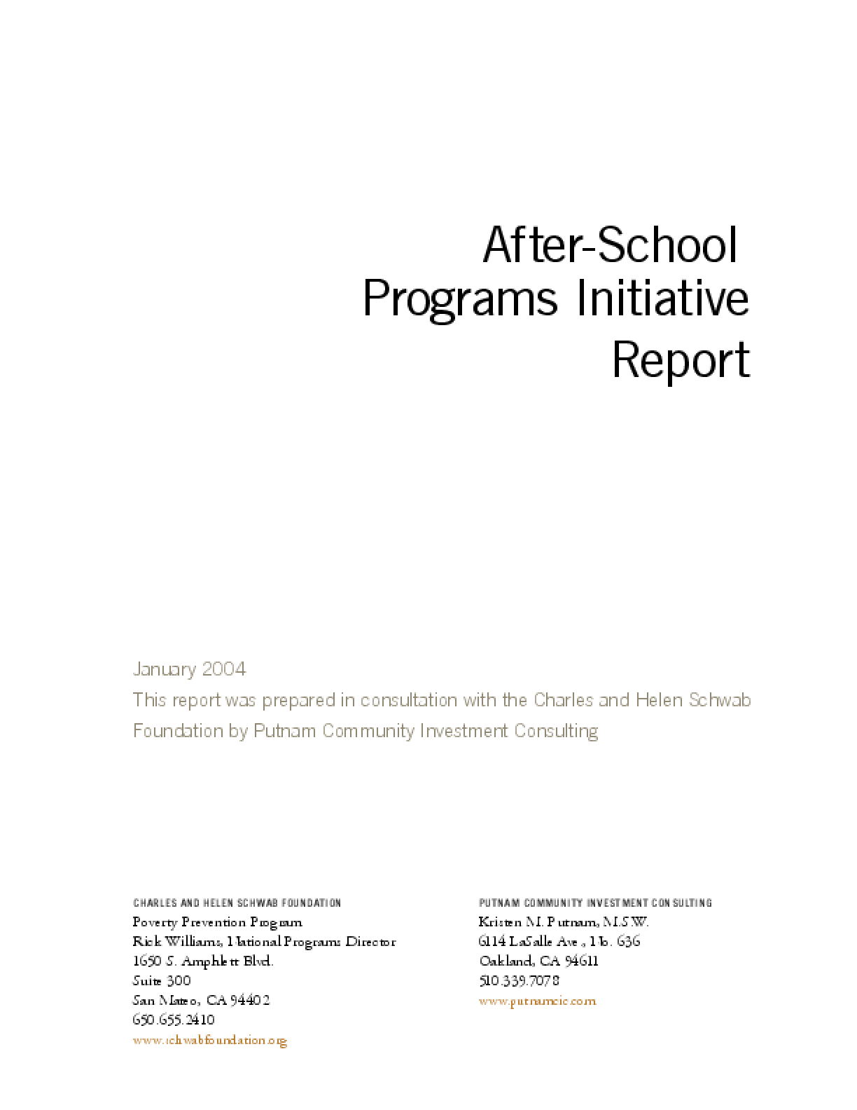 After-School Programs Initiative Report