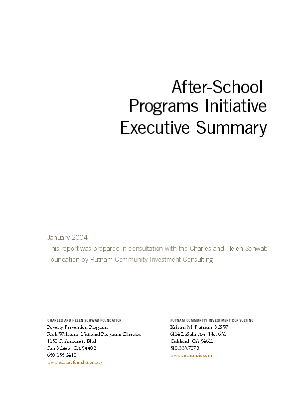 After-School Programs Initiative Report - Executive Summary