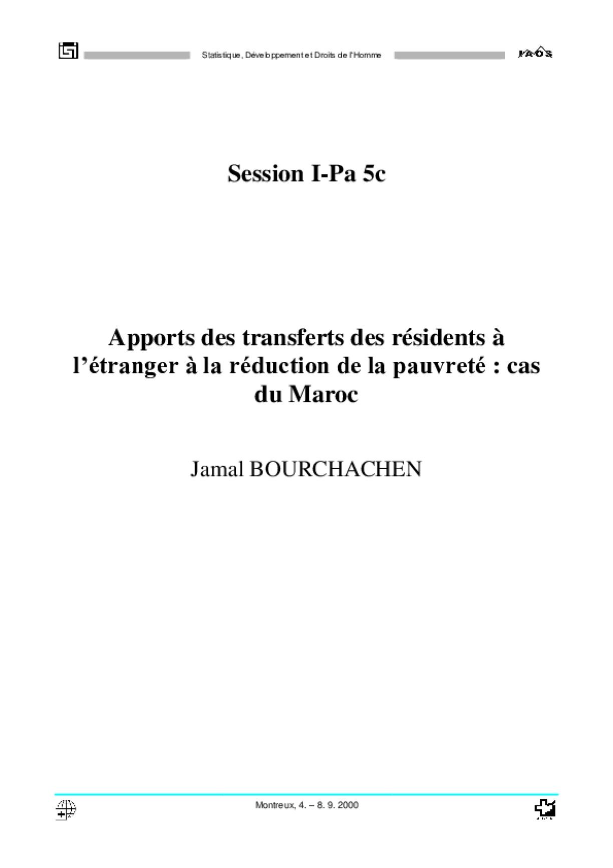 Apports des Transferts des Résidents à L'étranger à la Réduction de la Pauvreté: Cas du Maroc