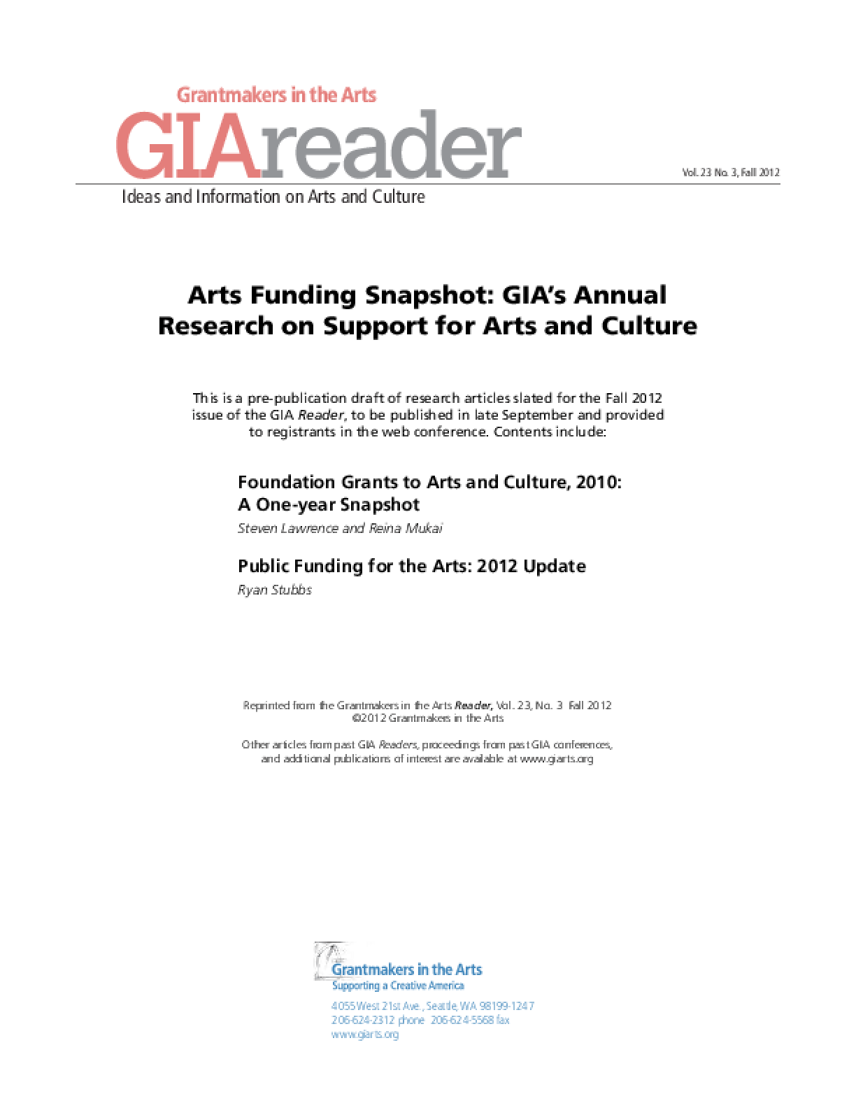 Arts Funding Snapshot: GIA's Annual Research on Support for Arts and Culture, 2012