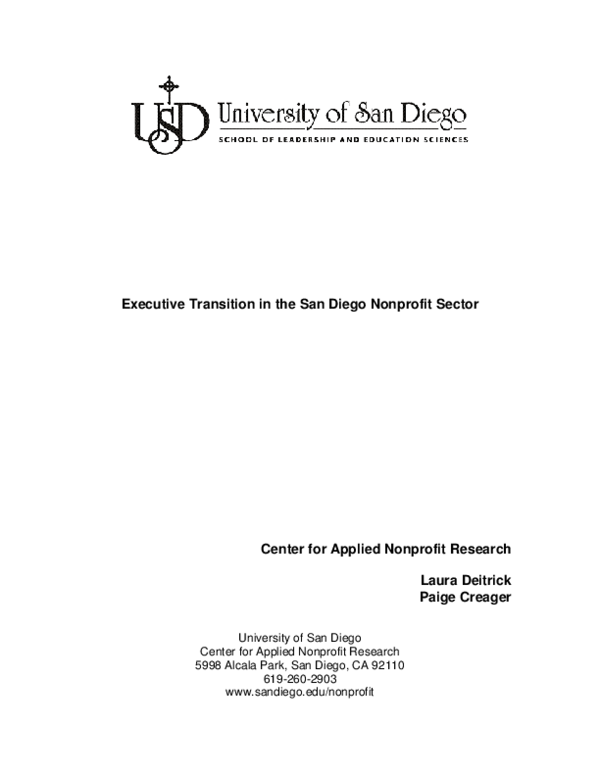 Executive Transition in the San Diego Nonprofit Sector - Executive Summary