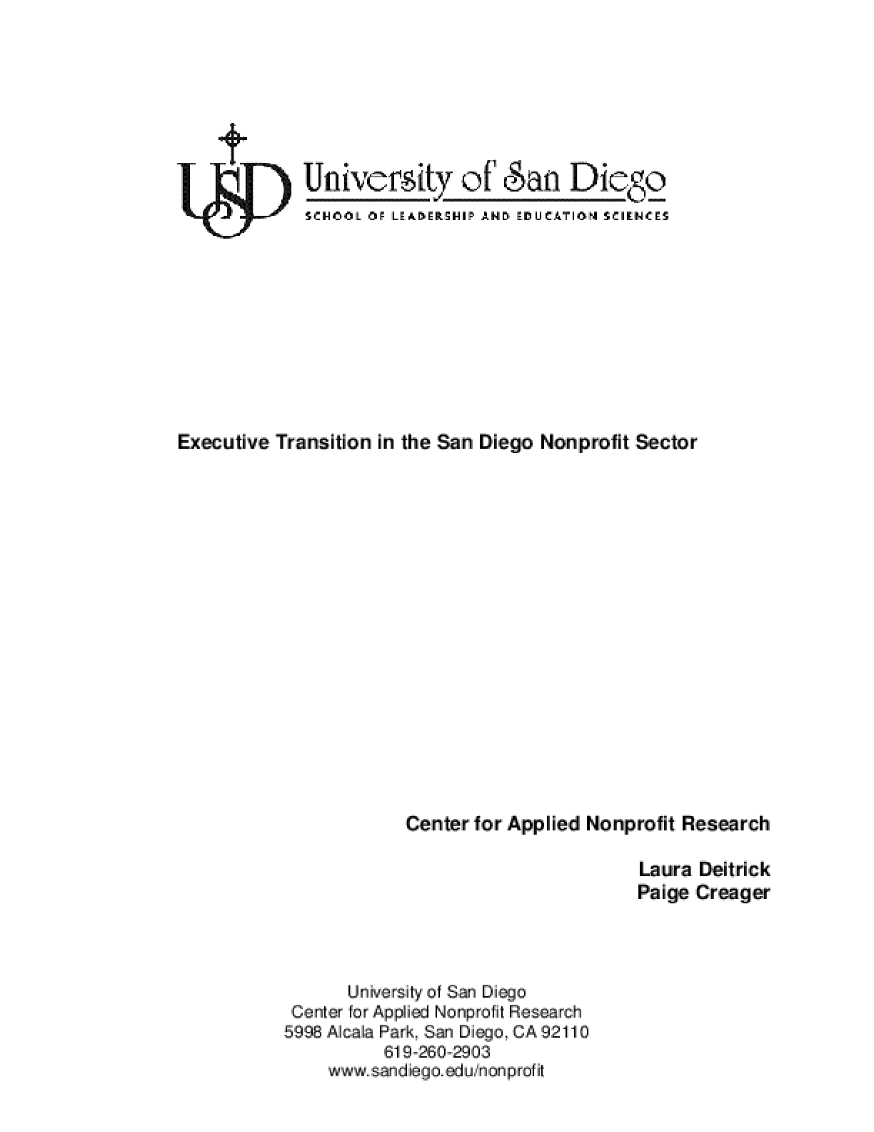 Executive Transition in the San Diego Nonprofit Sector - Full Report