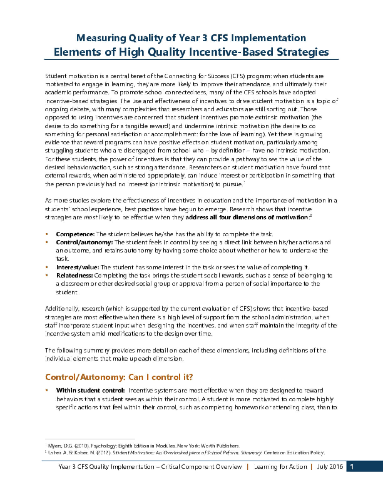 Elements of High-Quality Students Incentive Strategies
