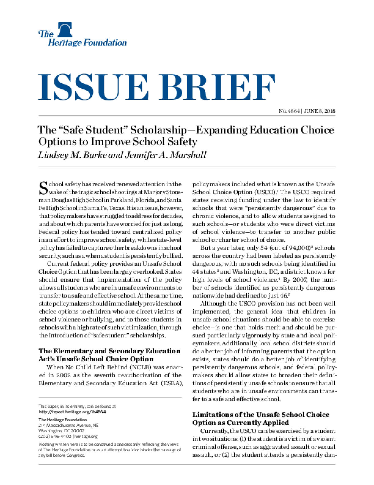 """The """"Safe Student"""" Scholarship—Expanding Education Choice Options to Improve School Safety"""