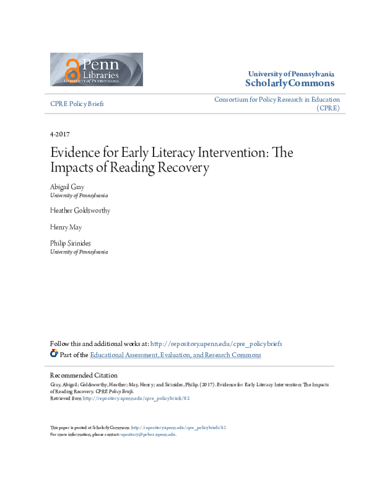 Evidence for Early Literacy Intervention: The Impacts of Reading Recovery