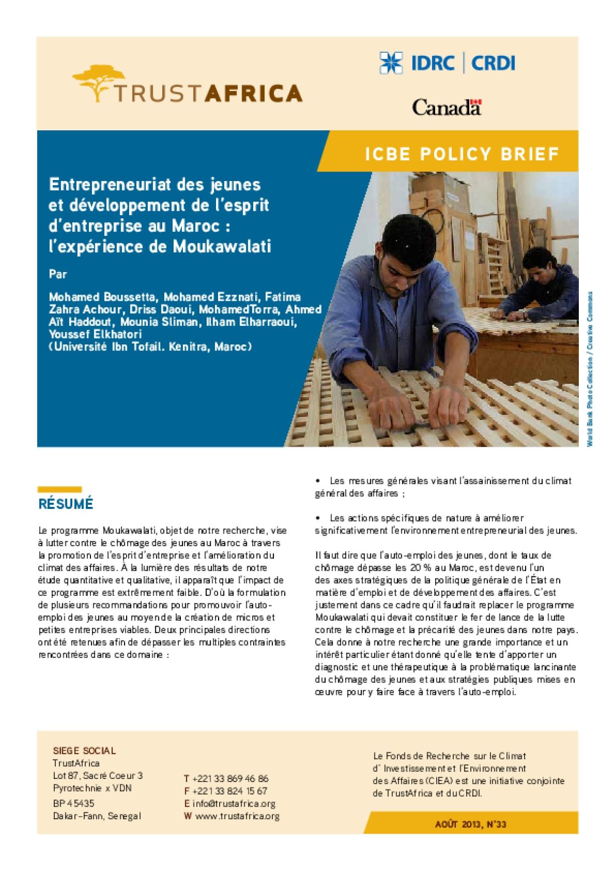 Entrepreneuriat Des Jeunes Et Développement De L'esprit D'entreprise Au Maroc : L'expérience De Moukawalati
