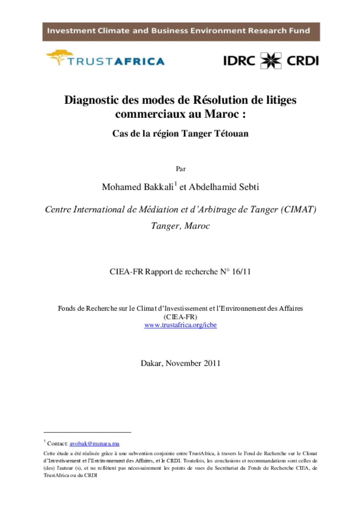 Diagnostic Des Modes De Résolution De Litiges Commerciaux Au Maroc : Cas De La Région Tanger Tétouan