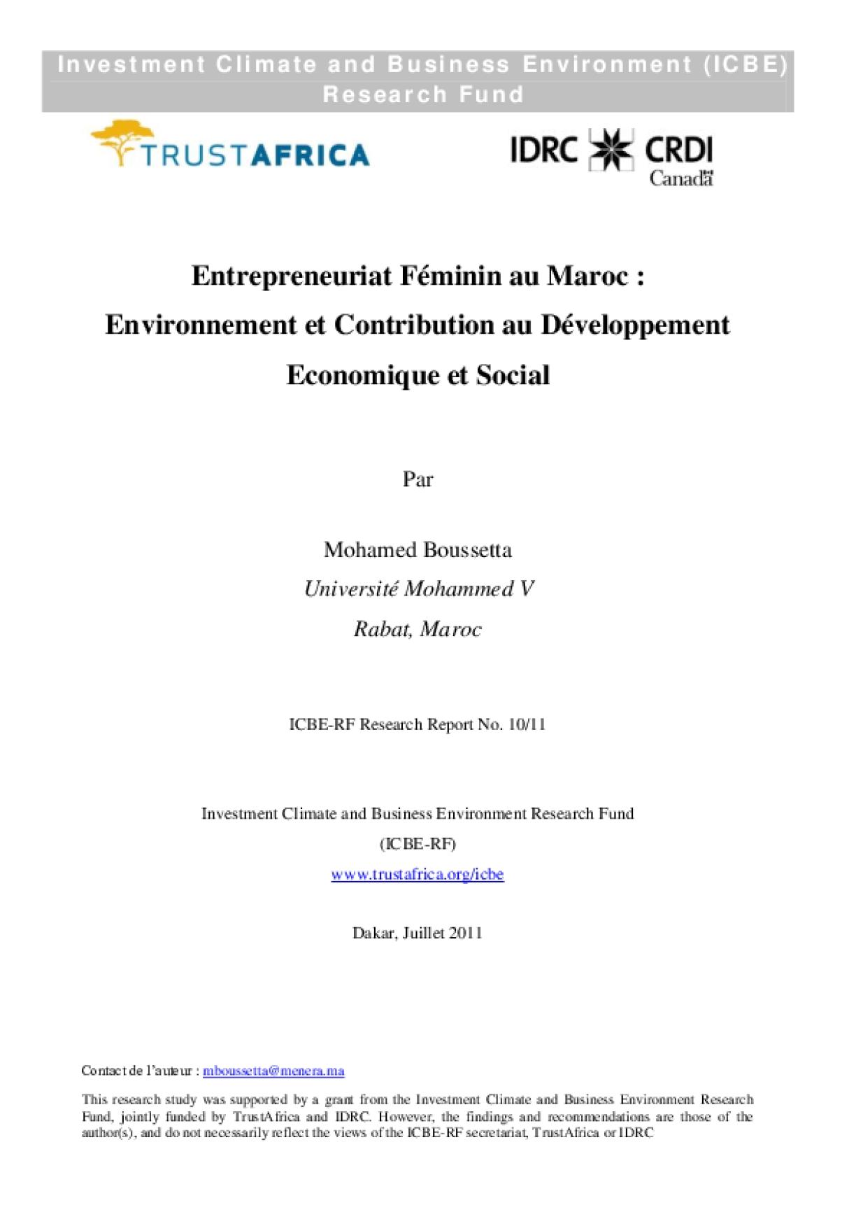 Entrepreneuriat Fémimin au Maroc: Environnement et Contribution au Développement Economique et Social
