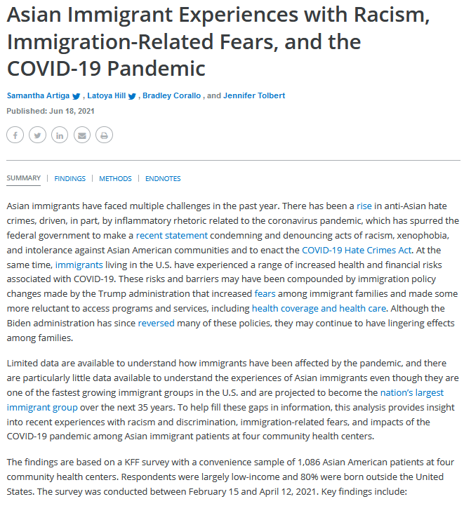 Asian Immigrant Experiences with Racism, Immigration-Related Fears, and the COVID-19 Pandemic